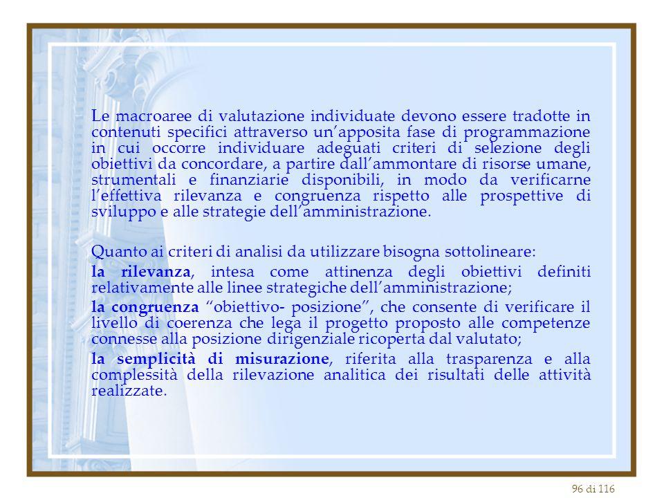 96 di 116 Le macroaree di valutazione individuate devono essere tradotte in contenuti specifici attraverso un'apposita fase di programmazione in cui o