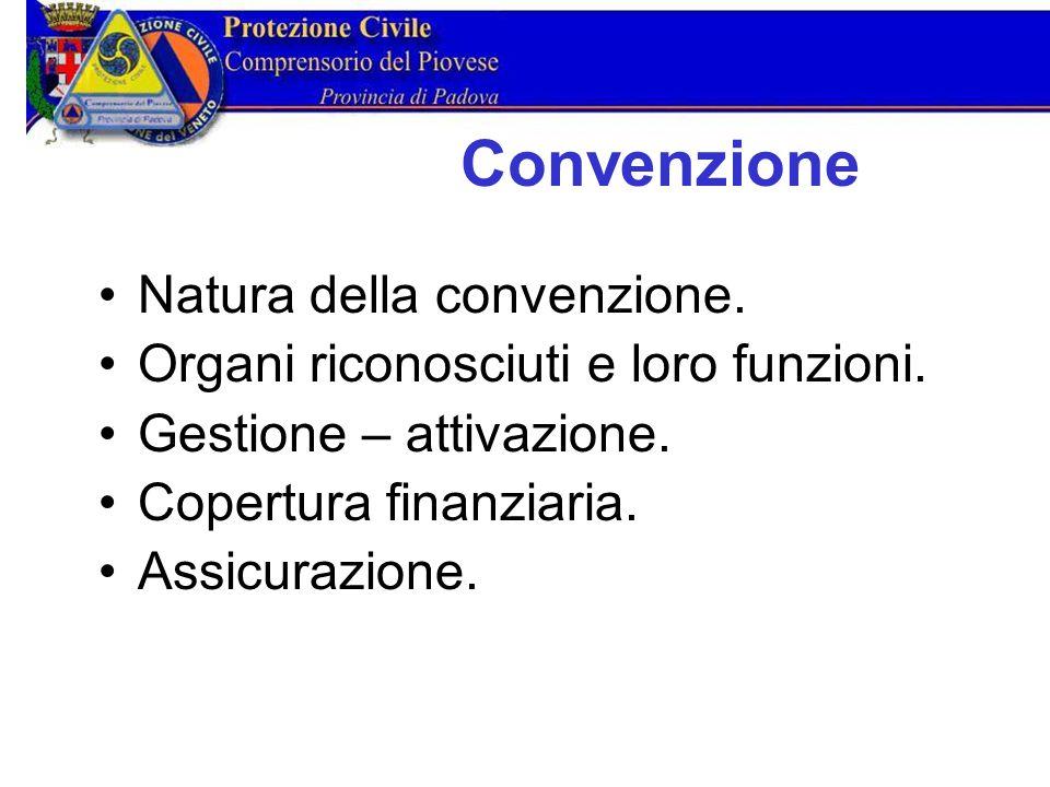Natura della convenzione. Organi riconosciuti e loro funzioni.