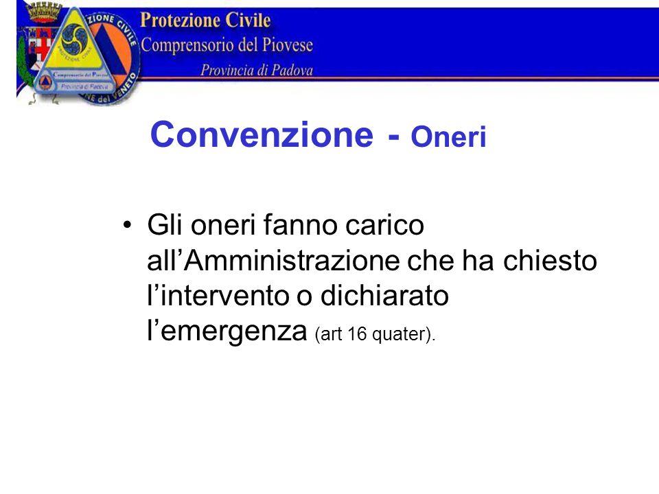 Convenzione Oneri Gli oneri fanno carico all'Amministrazione che ha chiesto l'intervento o dichiarato l'emergenza (art 16 quater).