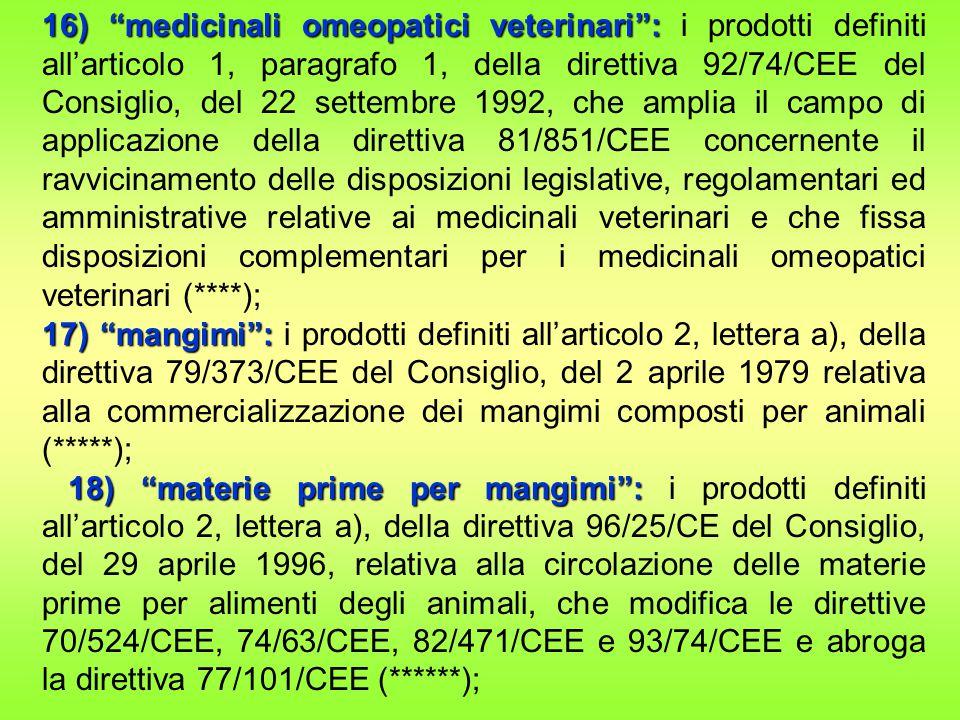 16) medicinali omeopatici veterinari : 16) medicinali omeopatici veterinari : i prodotti definiti all'articolo 1, paragrafo 1, della direttiva 92/74/CEE del Consiglio, del 22 settembre 1992, che amplia il campo di applicazione della direttiva 81/851/CEE concernente il ravvicinamento delle disposizioni legislative, regolamentari ed amministrative relative ai medicinali veterinari e che fissa disposizioni complementari per i medicinali omeopatici veterinari (****); 17) mangimi : 17) mangimi : i prodotti definiti all'articolo 2, lettera a), della direttiva 79/373/CEE del Consiglio, del 2 aprile 1979 relativa alla commercializzazione dei mangimi composti per animali (*****); 18) materie prime per mangimi : 18) materie prime per mangimi : i prodotti definiti all'articolo 2, lettera a), della direttiva 96/25/CE del Consiglio, del 29 aprile 1996, relativa alla circolazione delle materie prime per alimenti degli animali, che modifica le direttive 70/524/CEE, 74/63/CEE, 82/471/CEE e 93/74/CEE e abroga la direttiva 77/101/CEE (******);