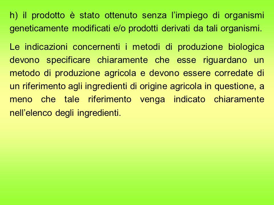 h) il prodotto è stato ottenuto senza l'impiego di organismi geneticamente modificati e/o prodotti derivati da tali organismi.
