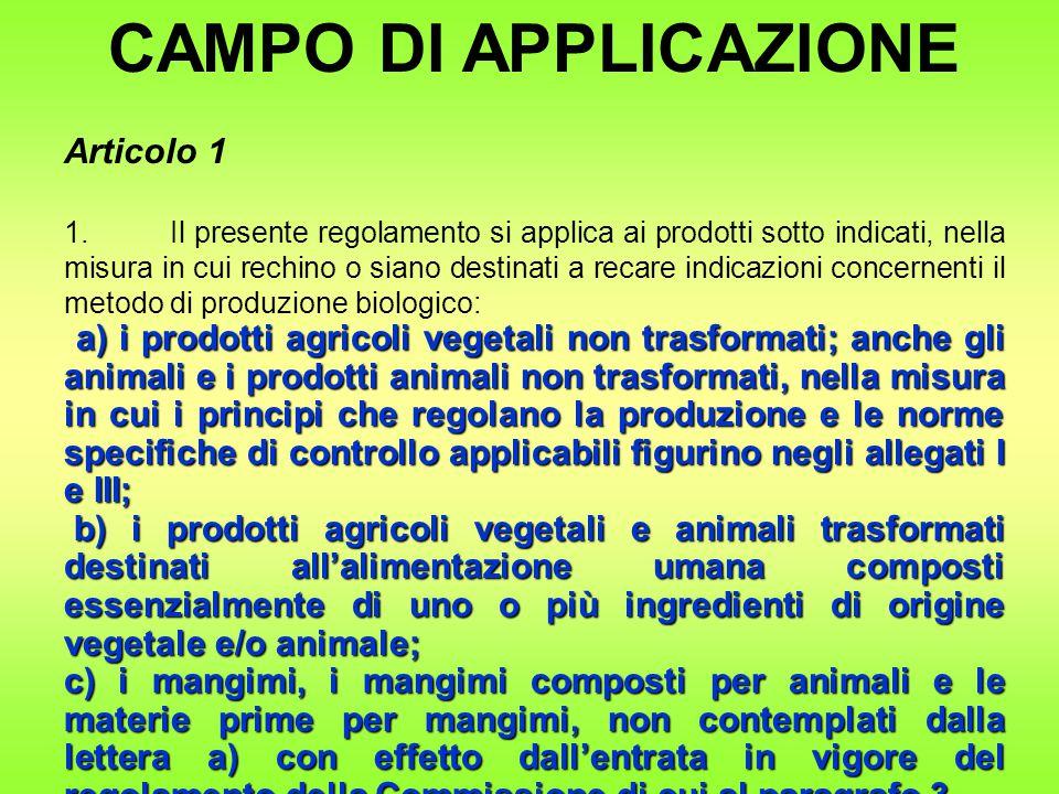 CAMPO DI APPLICAZIONE Articolo 1 1.