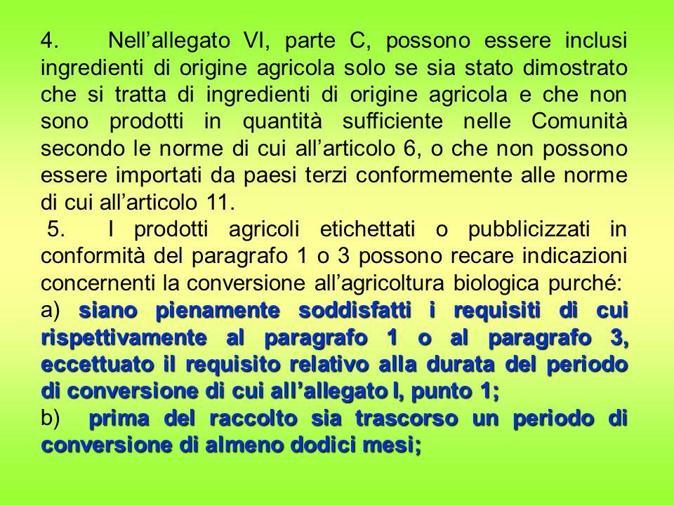 4. Nell'allegato VI, parte C, possono essere inclusi ingredienti di origine agricola solo se sia stato dimostrato che si tratta di ingredienti di orig
