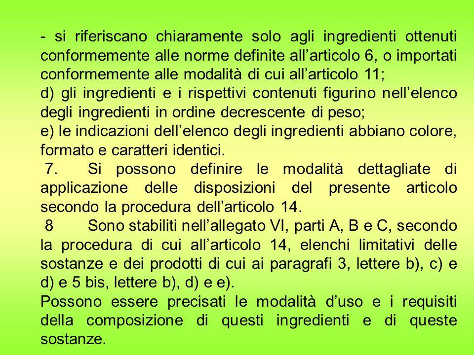 - si riferiscano chiaramente solo agli ingredienti ottenuti conformemente alle norme definite all'articolo 6, o importati conformemente alle modalità di cui all'articolo 11; d) gli ingredienti e i rispettivi contenuti figurino nell'elenco degli ingredienti in ordine decrescente di peso; e) le indicazioni dell'elenco degli ingredienti abbiano colore, formato e caratteri identici.