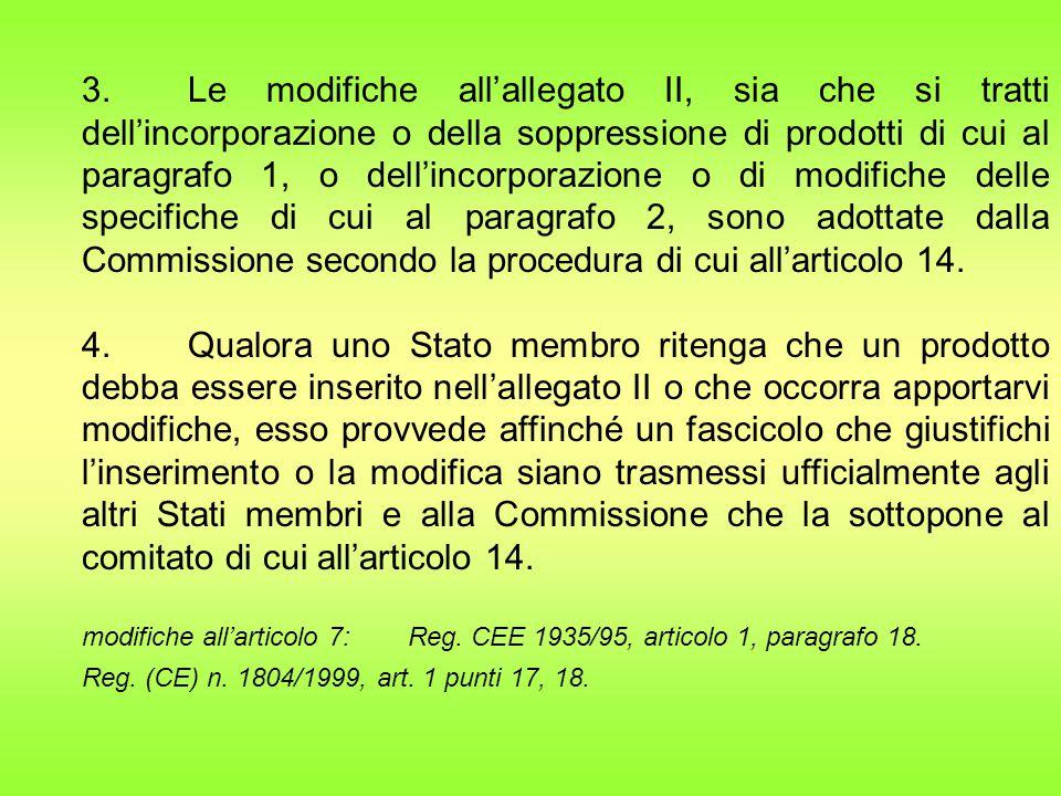 3. Le modifiche all'allegato II, sia che si tratti dell'incorporazione o della soppressione di prodotti di cui al paragrafo 1, o dell'incorporazione o