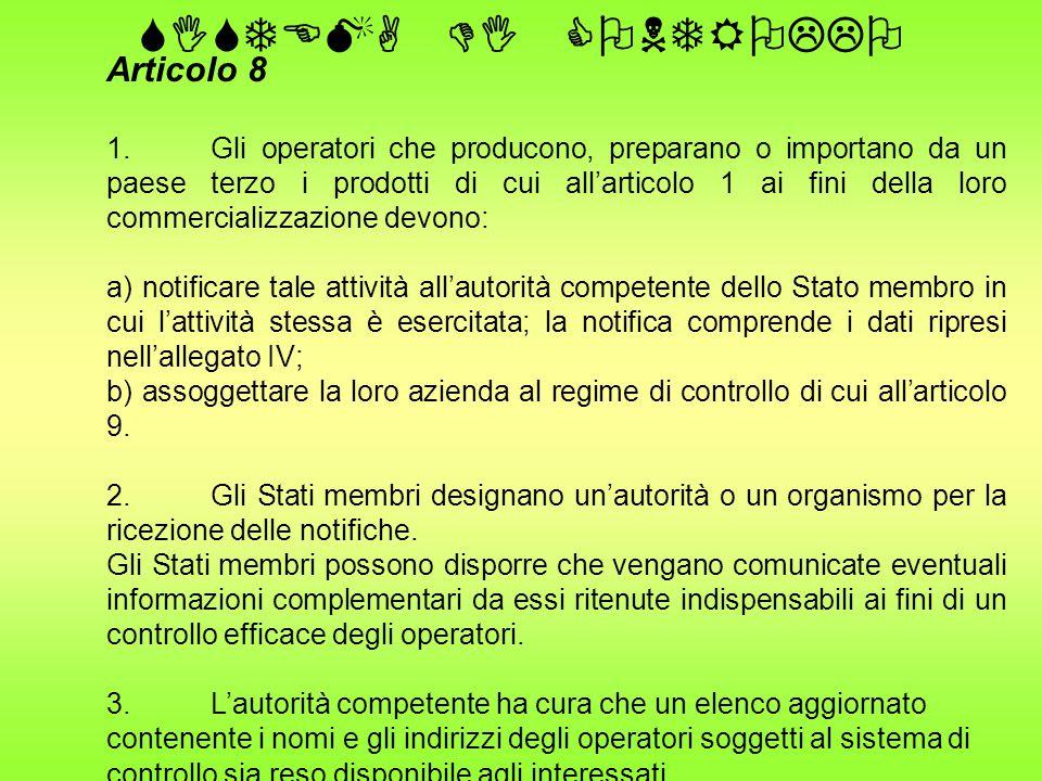 SISTEMA DI CONTROLLO Articolo 8 1.