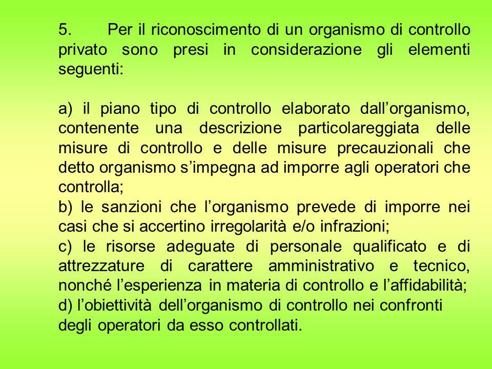 5. Per il riconoscimento di un organismo di controllo privato sono presi in considerazione gli elementi seguenti: a) il piano tipo di controllo elabor
