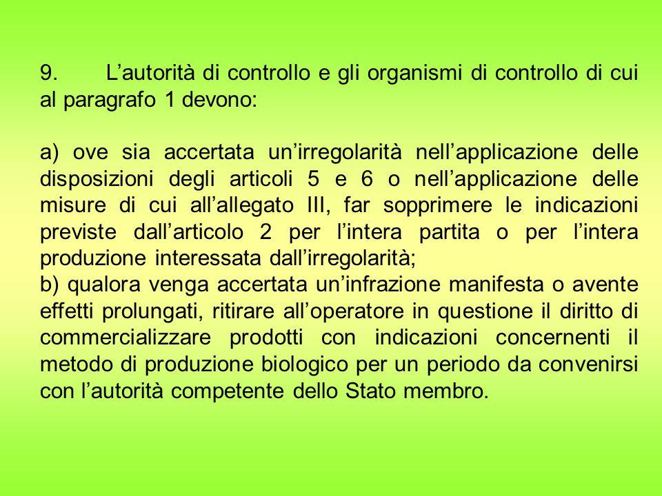 9. L'autorità di controllo e gli organismi di controllo di cui al paragrafo 1 devono: a) ove sia accertata un'irregolarità nell'applicazione delle dis