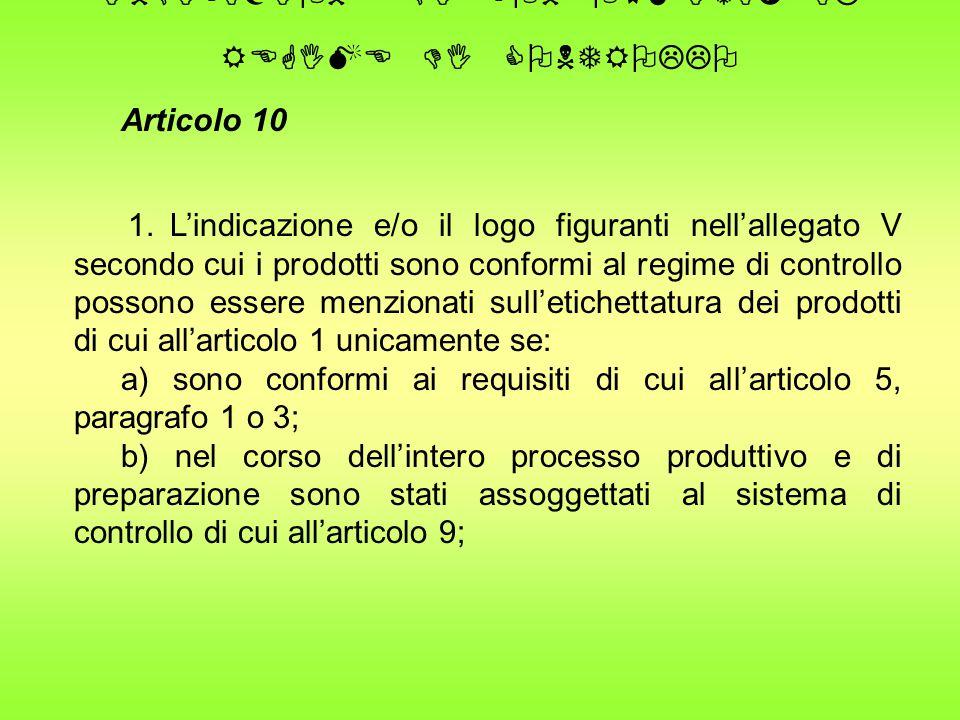 INDICAZIONE DI CONFORMITA' AL REGIME DI CONTROLLO Articolo 10 1.