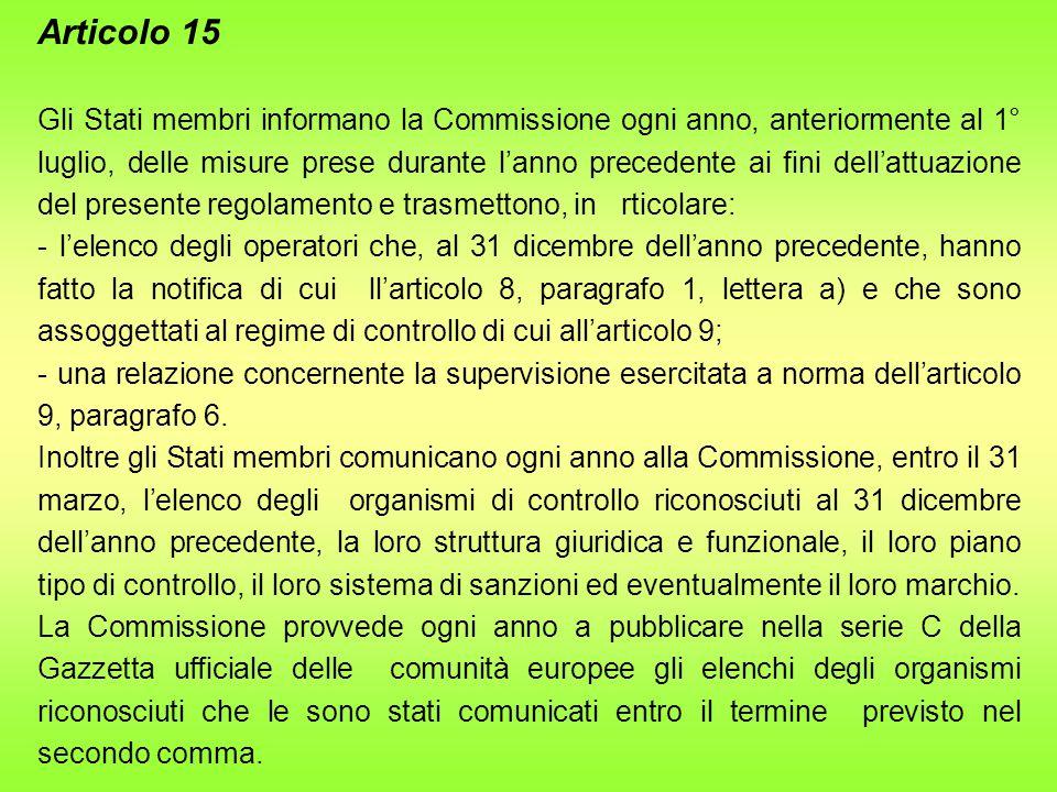 Articolo 15 Gli Stati membri informano la Commissione ogni anno, anteriormente al 1° luglio, delle misure prese durante l'anno precedente ai fini dell'attuazione del presente regolamento e trasmettono, in rticolare: - l'elenco degli operatori che, al 31 dicembre dell'anno precedente, hanno fatto la notifica di cui ll'articolo 8, paragrafo 1, lettera a) e che sono assoggettati al regime di controllo di cui all'articolo 9; - una relazione concernente la supervisione esercitata a norma dell'articolo 9, paragrafo 6.