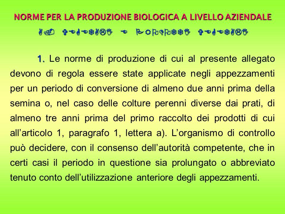 NORME PER LA PRODUZIONE BIOLOGICA A LIVELLO AZIENDALE A.
