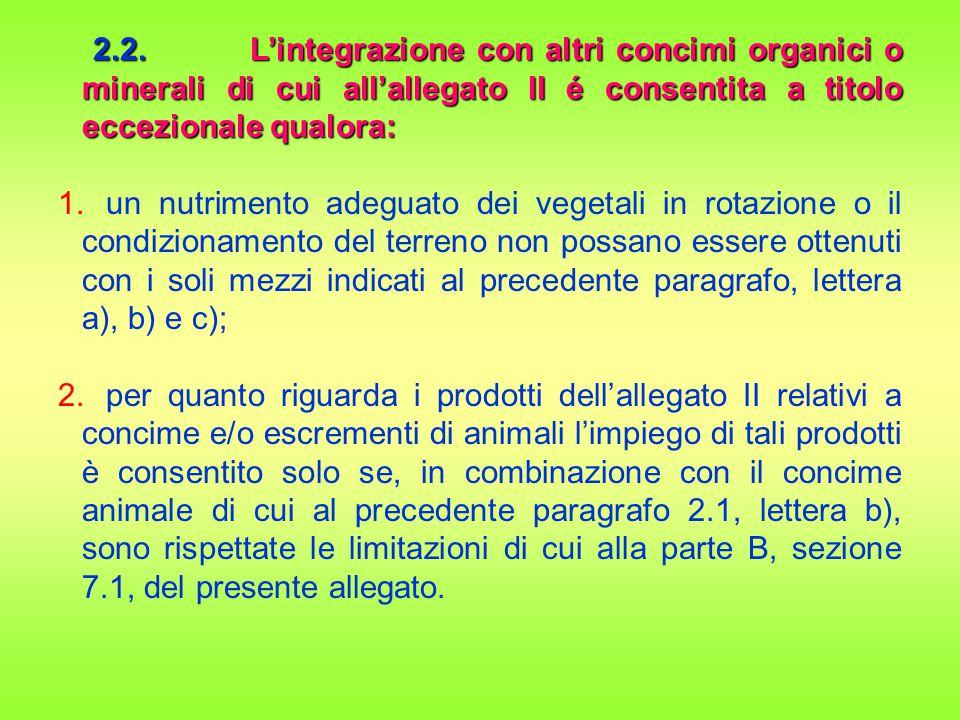 2.2.L'integrazione con altri concimi organici o minerali di cui all'allegato II é consentita a titolo eccezionale qualora: 2.2.