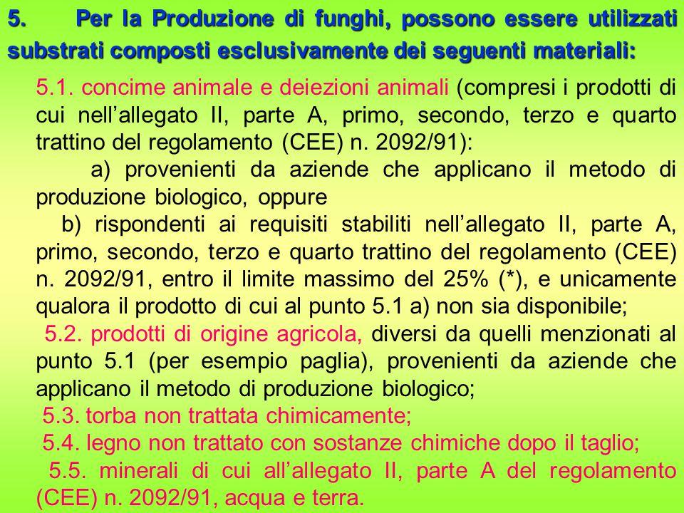 5. Per la Produzione di funghi, possono essere utilizzati substrati composti esclusivamente dei seguenti materiali: 5.1. concime animale e deiezioni a