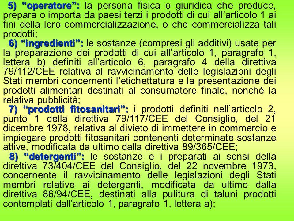 5) operatore : 5) operatore : la persona fisica o giuridica che produce, prepara o importa da paesi terzi i prodotti di cui all'articolo 1 ai fini della loro commercializzazione, o che commercializza tali prodotti; 6) ingredienti : 6) ingredienti : le sostanze (compresi gli additivi) usate per la preparazione dei prodotti di cui all'articolo 1, paragrafo 1, lettera b) definiti all'articolo 6, paragrafo 4 della direttiva 79/112/CEE relativa al ravvicinamento delle legislazioni degli Stati membri concernenti l'etichettatura e la presentazione dei prodotti alimentari destinati al consumatore finale, nonché la relativa pubblicità; 7) prodotti fitosanitari : 7) prodotti fitosanitari : i prodotti definiti nell'articolo 2, punto 1 della direttiva 79/117/CEE del Consiglio, del 21 dicembre 1978, relativa al divieto di immettere in commercio e impiegare prodotti fitosanitari contenenti determinate sostanze attive, modificata da ultimo dalla direttiva 89/365/CEE; 8) detergenti : 8) detergenti : le sostanze e i preparati ai sensi della direttiva 73/404/CEE del Consiglio, del 22 novembre 1973, concernente il ravvicinamento delle legislazioni degli Stati membri relative ai detergenti, modificata da ultimo dalla direttiva 86/94/CEE, destinati alla pulitura di taluni prodotti contemplati dall'articolo 1, paragrafo 1, lettera a);