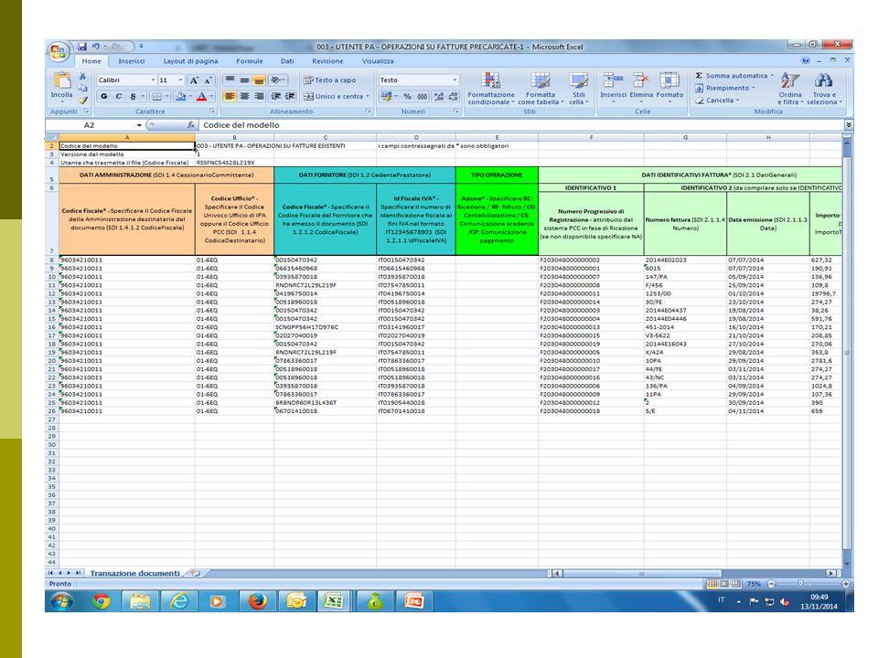 3^ inserimento dati  Compilare i campi dalla X alla AJ inserendo:  Dati relativi al pagamento  Ricordare di inserire NA nel campo «Cup» in caso di assenza del codice  Campo AJ inserire eventuali note (es.