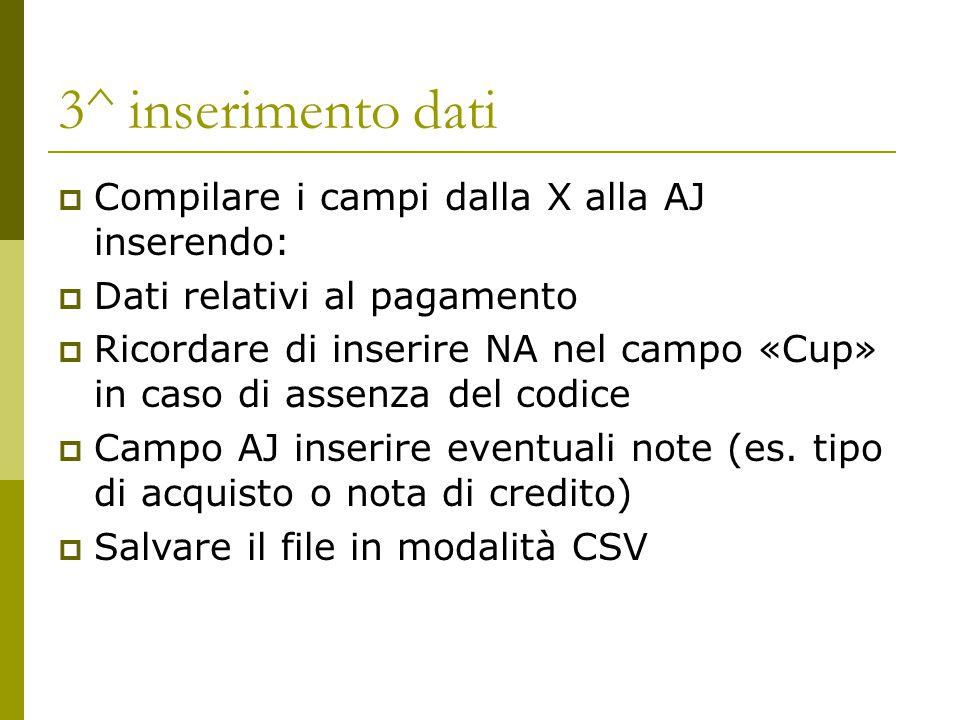3- inserire i dati: importante inserire nella colonna E il campo CP (comunicazione pagamento)