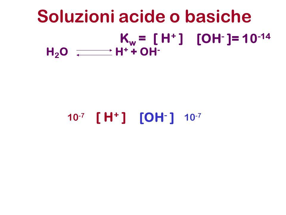Soluzioni acide o basiche H 2 O H + + OH - K w =[ H + ] [OH - ]= 10 -14 [ H + ] [OH - ] 10 -7