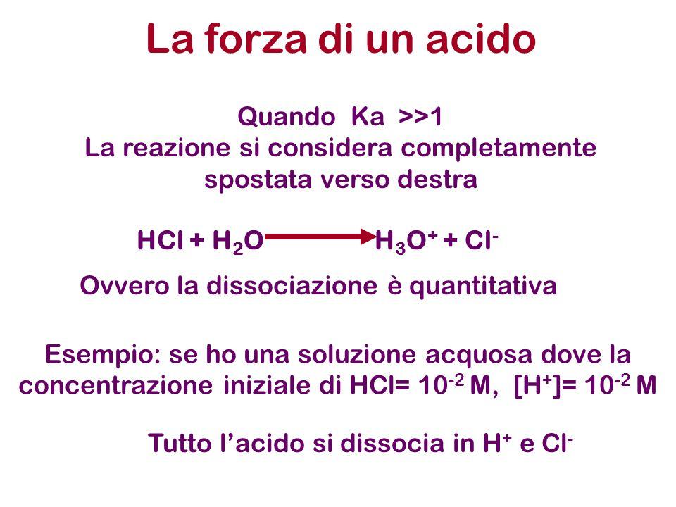 La forza di un acido Quando Ka >>1 La reazione si considera completamente spostata verso destra HCl + H 2 O H 3 O + + Cl - Ovvero la dissociazione è quantitativa Esempio: se ho una soluzione acquosa dove la concentrazione iniziale di HCl= 10 -2 M, [H + ]= 10 -2 M Tutto l'acido si dissocia in H + e Cl -