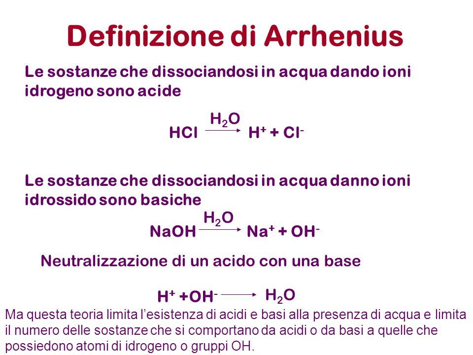 Soluzioni acide o basiche H 2 O H + + OH - K w =[ H + ] [OH - ]= 10 -14 [ H + ] [OH - ] 10 -7 [ H + ] [OH - ] 10 -6 10 -8 [ H + ] [OH - ] 10 -5 10 -9 [ H + ] [OH - ] 10 -1 10 -13