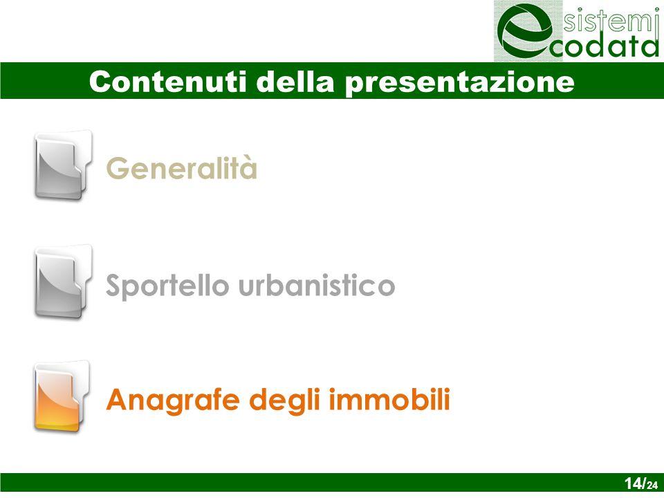 14/ x Generalità Anagrafe degli immobili Sportello urbanistico Contenuti della presentazione 14/ 24
