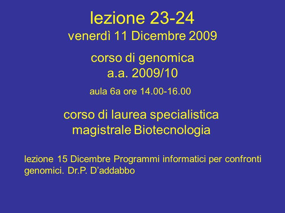 corso di laurea specialistica magistrale Biotecnologia aula 6a ore 14.00-16.00 corso di genomica a.a.