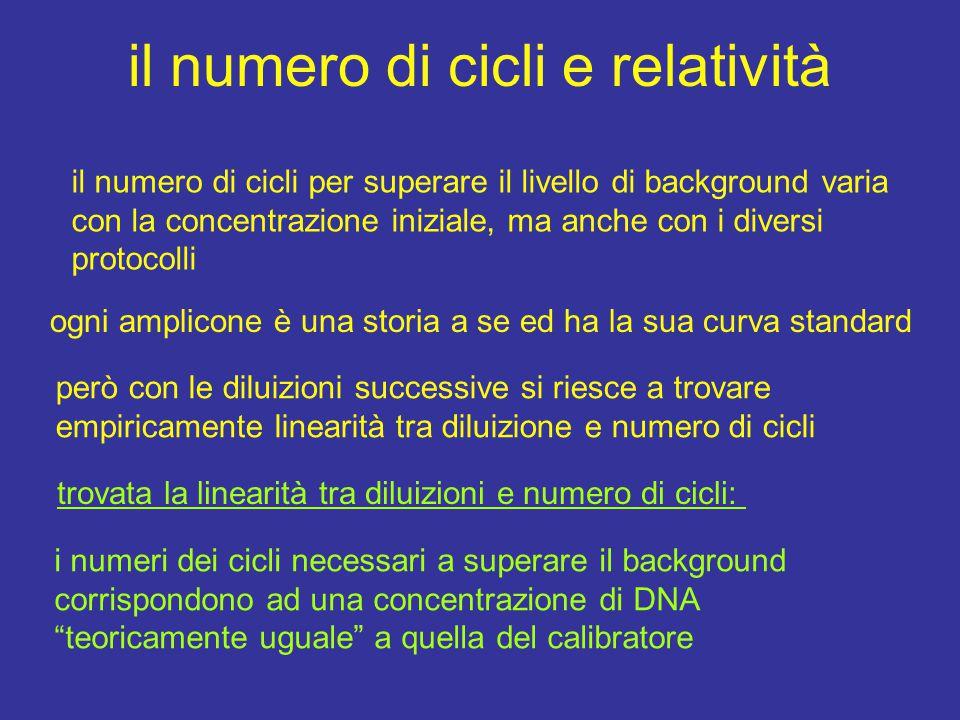 il numero di cicli e relatività il numero di cicli per superare il livello di background varia con la concentrazione iniziale, ma anche con i diversi protocolli ogni amplicone è una storia a se ed ha la sua curva standard però con le diluizioni successive si riesce a trovare empiricamente linearità tra diluizione e numero di cicli trovata la linearità tra diluizioni e numero di cicli: i numeri dei cicli necessari a superare il background corrispondono ad una concentrazione di DNA teoricamente uguale a quella del calibratore