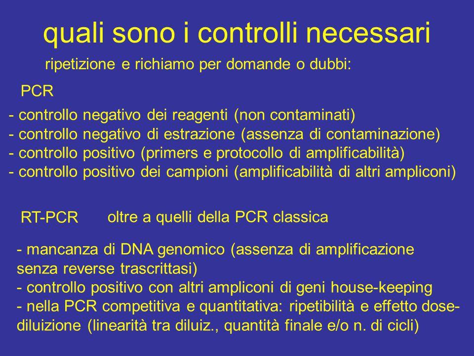 quali sono i controlli necessari PCR - controllo negativo dei reagenti (non contaminati) - controllo negativo di estrazione (assenza di contaminazione) - controllo positivo (primers e protocollo di amplificabilità) - controllo positivo dei campioni (amplificabilità di altri ampliconi) RT-PCR oltre a quelli della PCR classica - mancanza di DNA genomico (assenza di amplificazione senza reverse trascrittasi) - controllo positivo con altri ampliconi di geni house-keeping - nella PCR competitiva e quantitativa: ripetibilità e effetto dose- diluizione (linearità tra diluiz., quantità finale e/o n.