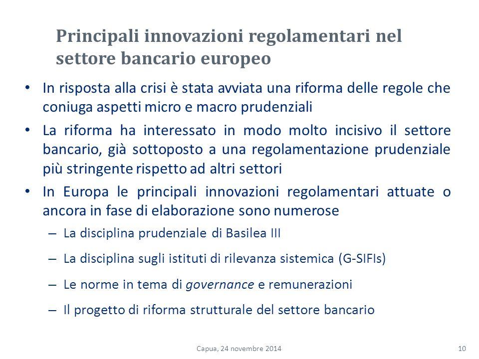 Principali innovazioni regolamentari nel settore bancario europeo In risposta alla crisi è stata avviata una riforma delle regole che coniuga aspetti micro e macro prudenziali La riforma ha interessato in modo molto incisivo il settore bancario, già sottoposto a una regolamentazione prudenziale più stringente rispetto ad altri settori In Europa le principali innovazioni regolamentari attuate o ancora in fase di elaborazione sono numerose – La disciplina prudenziale di Basilea III – La disciplina sugli istituti di rilevanza sistemica (G-SIFIs) – Le norme in tema di governance e remunerazioni – Il progetto di riforma strutturale del settore bancario 10Capua, 24 novembre 2014