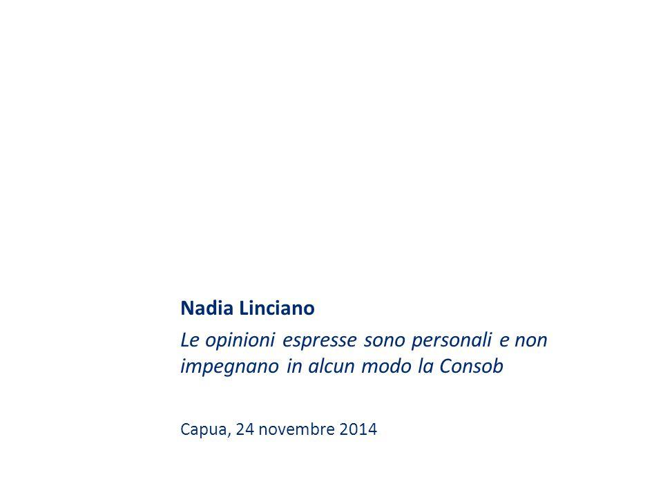 Nadia Linciano Le opinioni espresse sono personali e non impegnano in alcun modo la Consob Capua, 24 novembre 2014