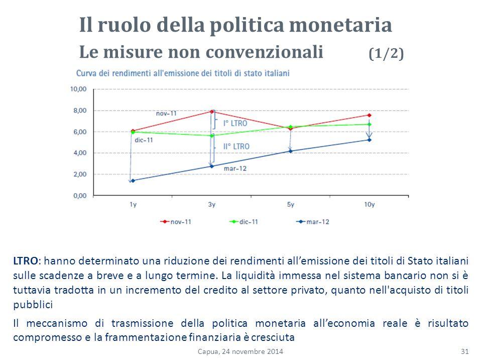 LTRO: hanno determinato una riduzione dei rendimenti all'emissione dei titoli di Stato italiani sulle scadenze a breve e a lungo termine.