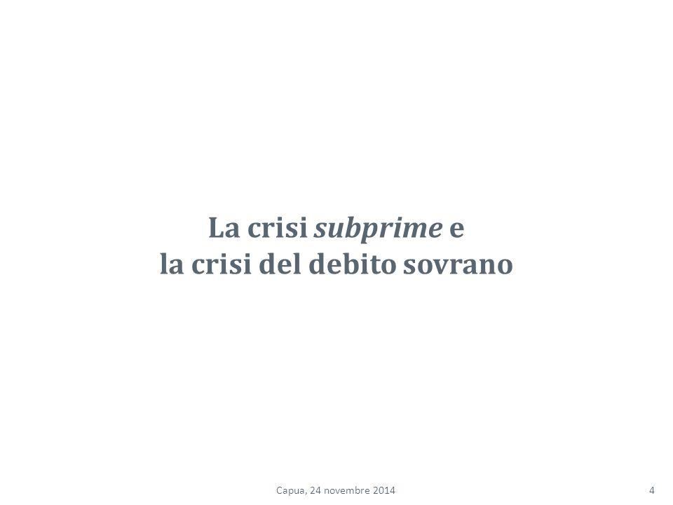 La crisi subprime e la crisi del debito sovrano 4Capua, 24 novembre 2014