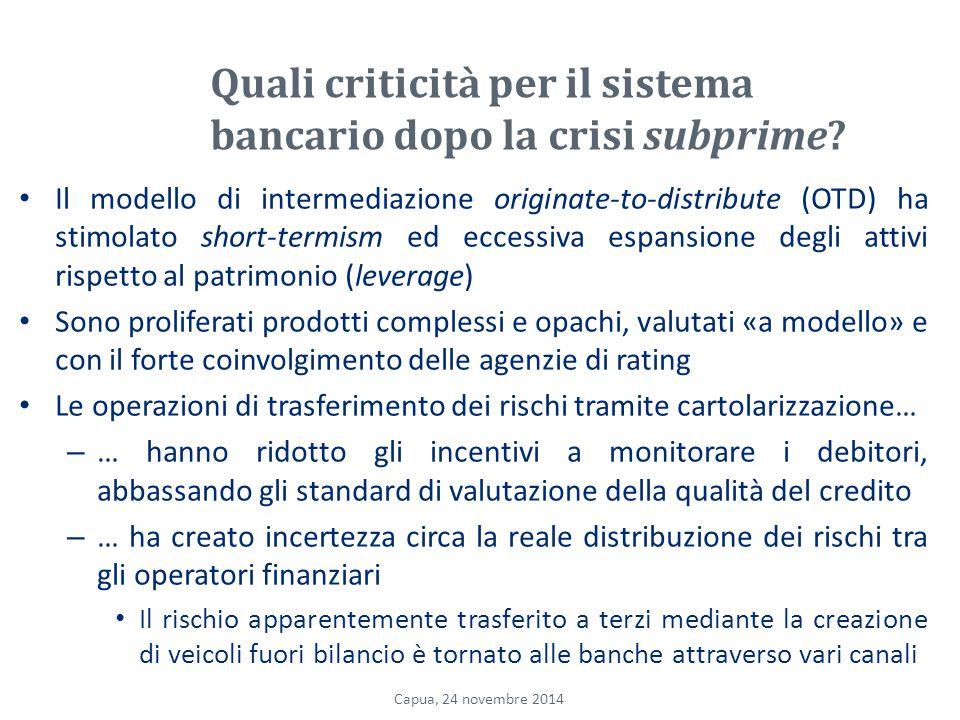 Quali criticità per il sistema bancario dopo la crisi subprime.