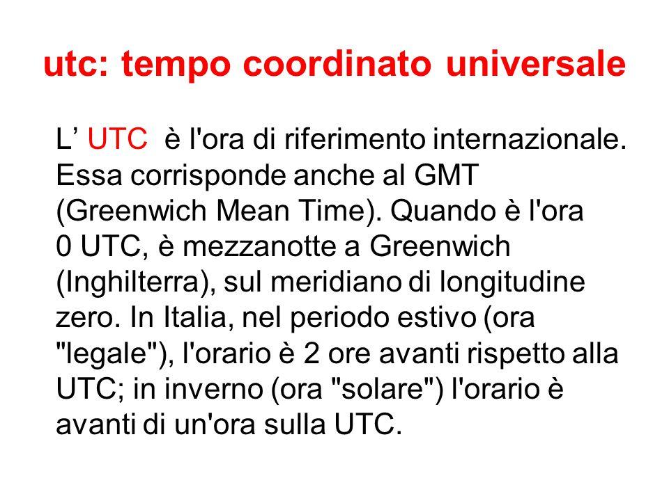 utc: tempo coordinato universale L' UTC è l'ora di riferimento internazionale. Essa corrisponde anche al GMT (Greenwich Mean Time). Quando è l'ora 0 U