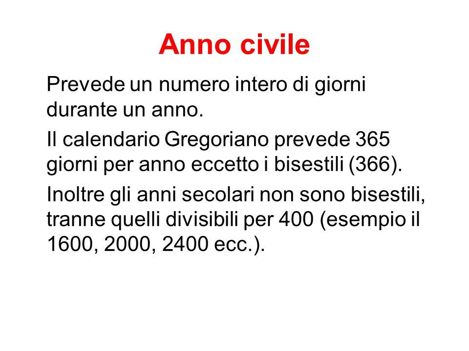 Anno civile Prevede un numero intero di giorni durante un anno. Il calendario Gregoriano prevede 365 giorni per anno eccetto i bisestili (366). Inoltr