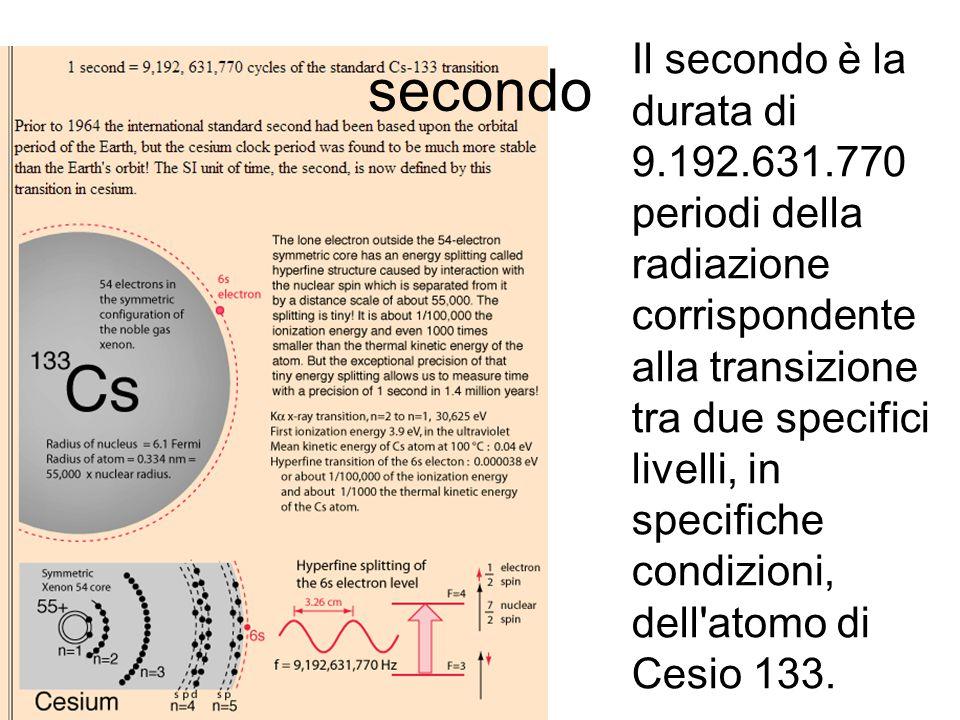 secondo Il secondo è la durata di 9.192.631.770 periodi della radiazione corrispondente alla transizione tra due specifici livelli, in specifiche cond