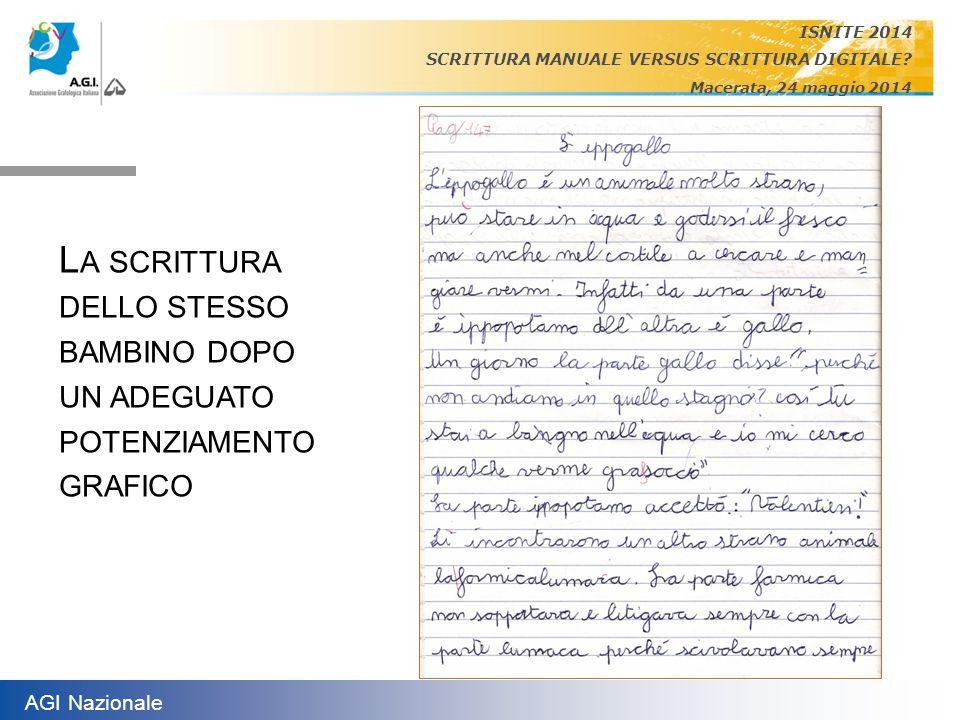 AGI Nazionale ISNITE 2014 SCRITTURA MANUALE VERSUS SCRITTURA DIGITALE? Macerata, 24 maggio 2014 L A SCRITTURA DELLO STESSO BAMBINO DOPO UN ADEGUATO PO