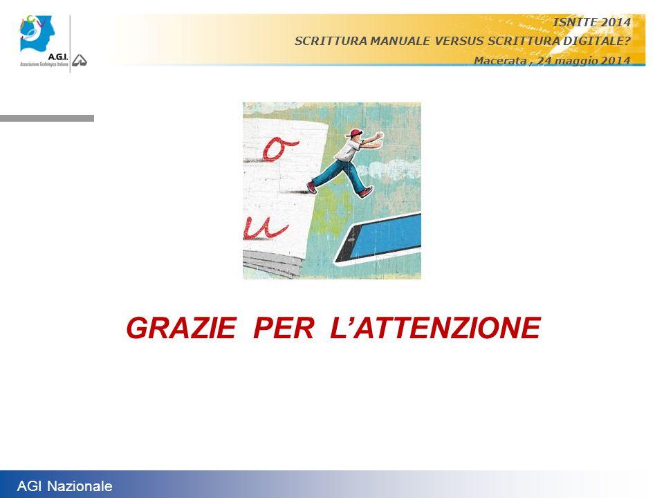 AGI Nazionale ISNITE 2014 SCRITTURA MANUALE VERSUS SCRITTURA DIGITALE? Macerata, 24 maggio 2014 GRAZIE PER L'ATTENZIONE