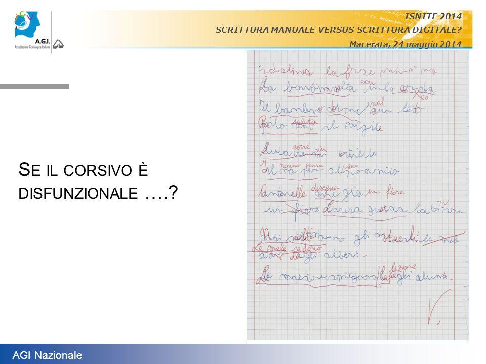 AGI Nazionale ISNITE 2014 SCRITTURA MANUALE VERSUS SCRITTURA DIGITALE? Macerata, 24 maggio 2014 S E IL CORSIVO È DISFUNZIONALE ….?