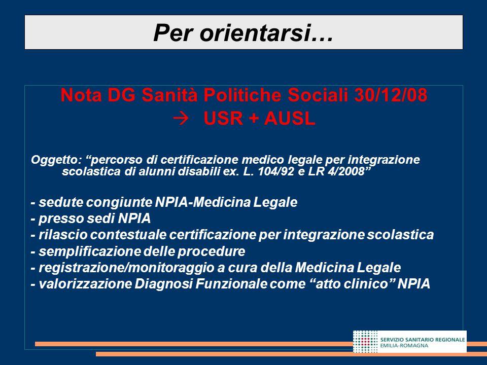 """12 Nota DG Sanità Politiche Sociali 30/12/08  USR + AUSL Oggetto: """"percorso di certificazione medico legale per integrazione scolastica di alunni dis"""