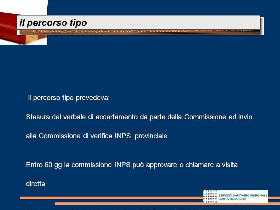 19 Il percorso tipo prevedeva: Stesura del verbale di accertamento da parte della Commissione ed invio alla Commissione di verifica INPS provinciale E