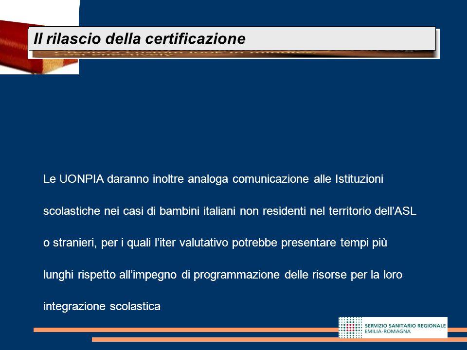 23 Le UONPIA daranno inoltre analoga comunicazione alle Istituzioni scolastiche nei casi di bambini italiani non residenti nel territorio dell'ASL o s