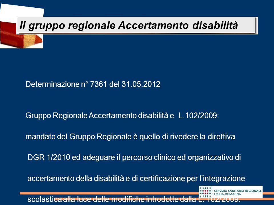 24 Determinazione n° 7361 del 31.05.2012 Gruppo Regionale Accertamento disabilità e L.102/2009: mandato del Gruppo Regionale è quello di rivedere la d