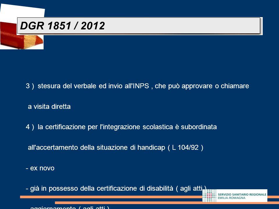 26 3 ) stesura del verbale ed invio all'INPS, che può approvare o chiamare a visita diretta 4 ) la certificazione per l'integrazione scolastica è subo