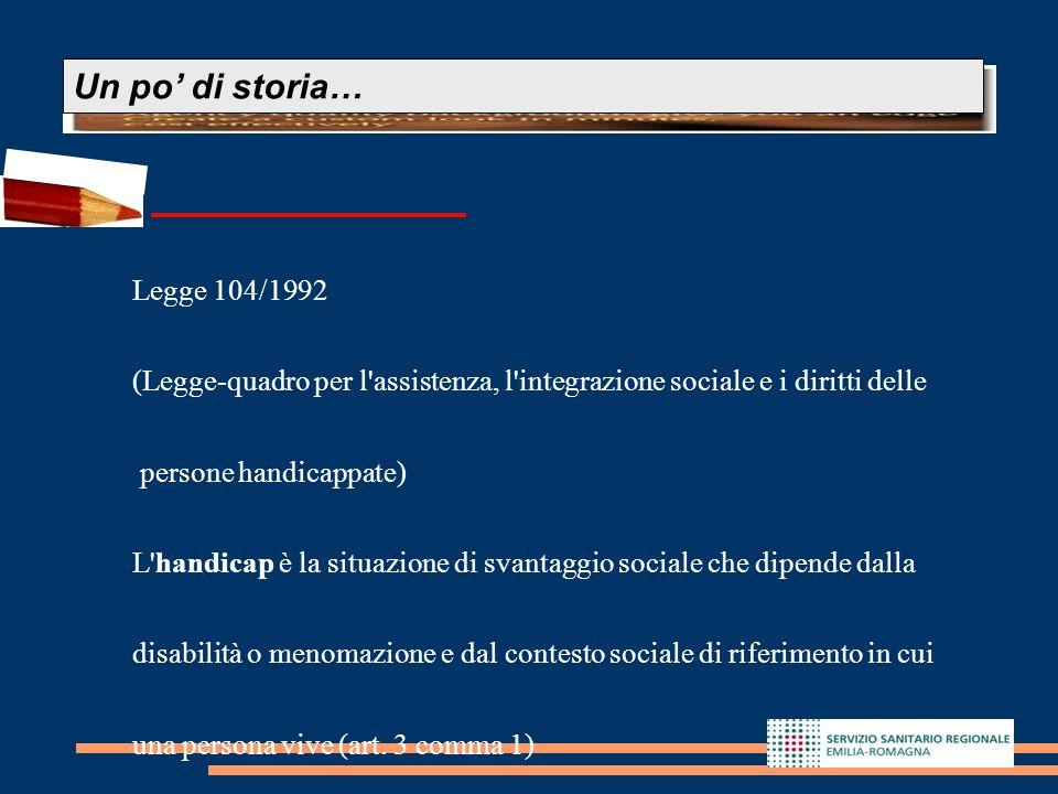 8 Legge 104/1992 (Legge-quadro per l'assistenza, l'integrazione sociale e i diritti delle persone handicappate) L'handicap è la situazione di svantagg