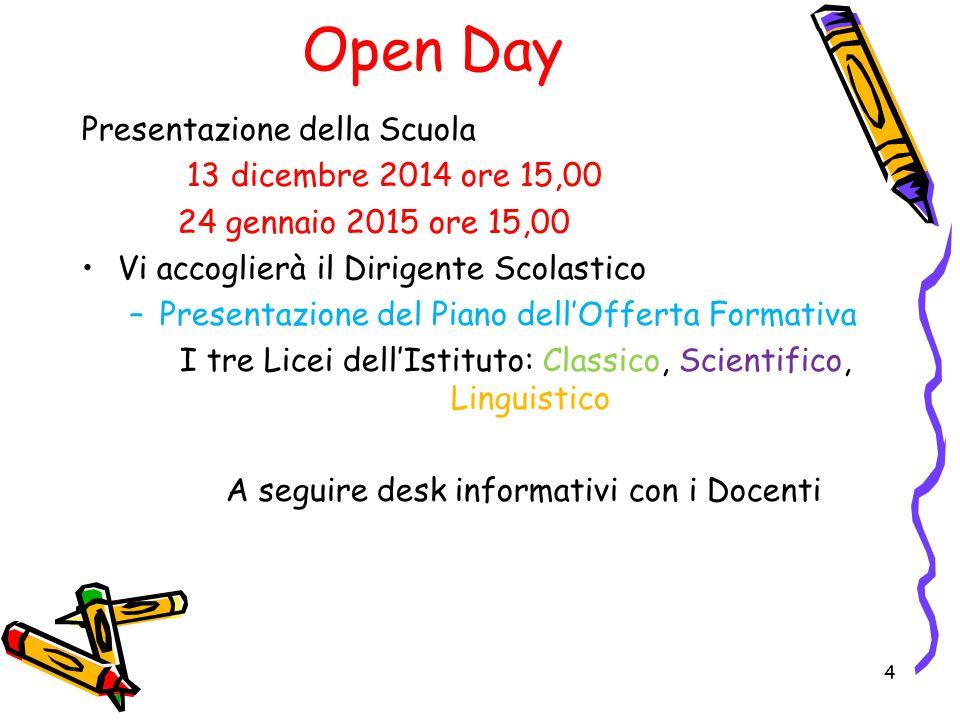 Open Day Presentazione della Scuola 13 dicembre 2014 ore 15,00 24 gennaio 2015 ore 15,00 Vi accoglierà il Dirigente Scolastico –Presentazione del Pian