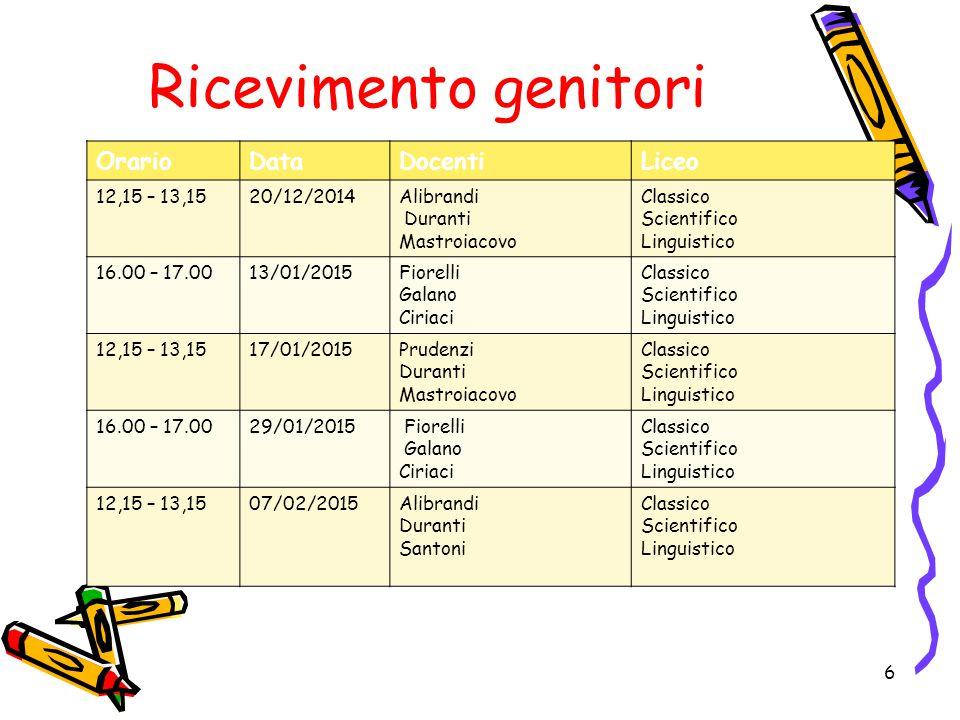 Ricevimento genitori OrarioDataDocentiLiceo 12,15 – 13,1520/12/2014Alibrandi Duranti Mastroiacovo Classico Scientifico Linguistico 16.00 – 17.0013/01/