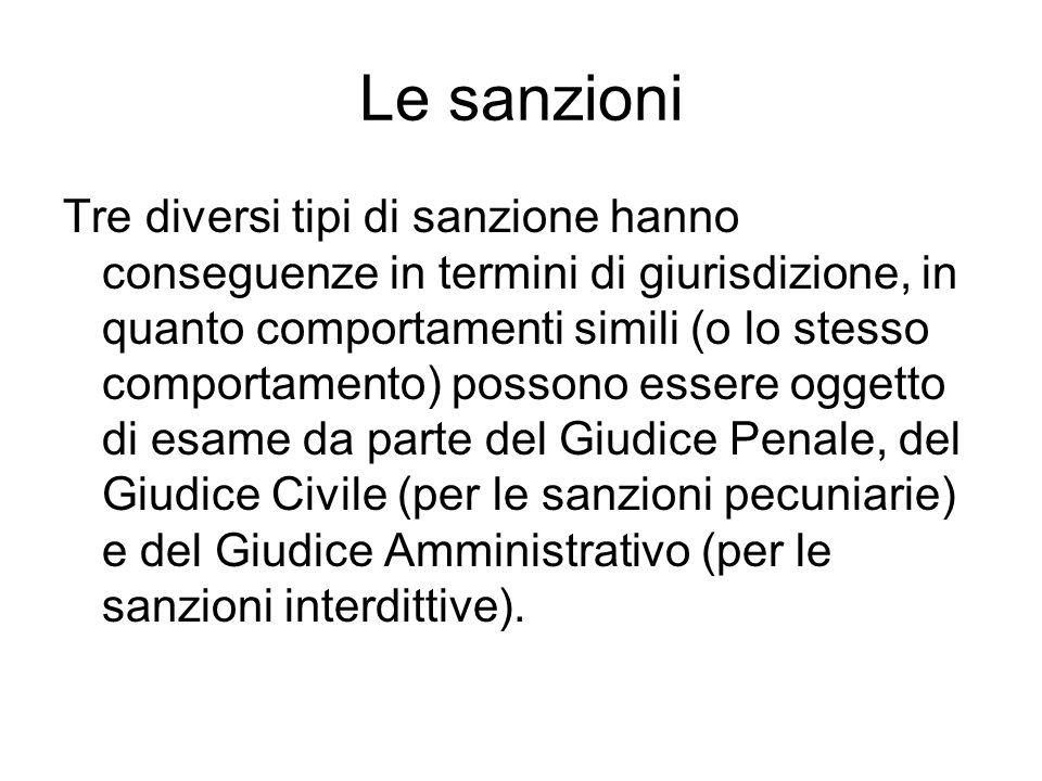 Le sanzioni Tre diversi tipi di sanzione hanno conseguenze in termini di giurisdizione, in quanto comportamenti simili (o lo stesso comportamento) pos