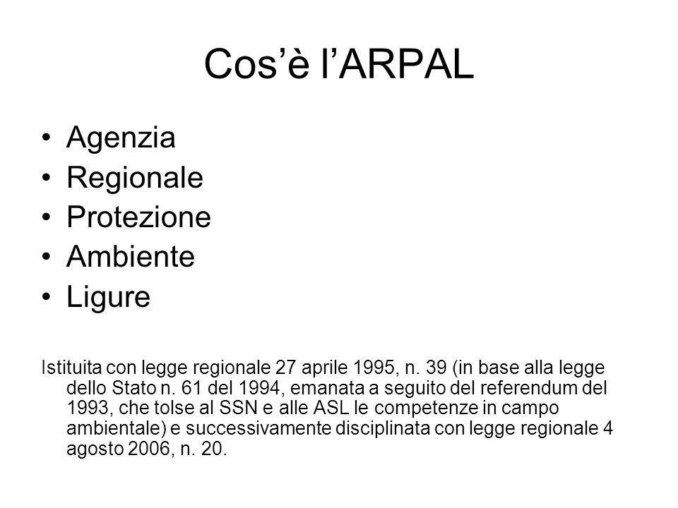Cos'è l'ARPAL Agenzia Regionale Protezione Ambiente Ligure Istituita con legge regionale 27 aprile 1995, n. 39 (in base alla legge dello Stato n. 61 d