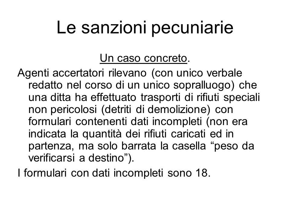 Le sanzioni pecuniarie Un caso concreto.