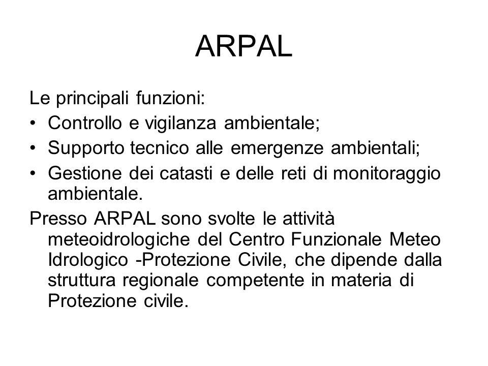 ARPAL Le principali funzioni: Controllo e vigilanza ambientale; Supporto tecnico alle emergenze ambientali; Gestione dei catasti e delle reti di monitoraggio ambientale.